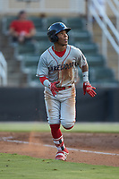 Luis Garcia (3) of the Lakewood BlueClaws hustles down the first base line against the Kannapolis Intimidators at Kannapolis Intimidators Stadium on July 18, 2019 in Kannapolis, North Carolina. The Intimidators defeated the BlueClaws 7-1. (Brian Westerholt/Four Seam Images)