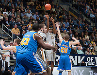Jordan Mathews of California shoots the ball during the game against UCLA at Haas Pavilion in Berkeley, California on February 19th, 2014.  UCLA defeated California, 86-66.