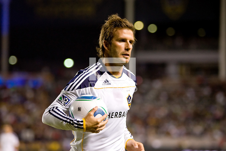 LA Galaxy midfielder David Beckham heads over to the corner with his ball. The New York Red Bulls beat the LA Galaxy 2-0 at Home Depot Center stadium in Carson, California on Friday September 24, 2010.