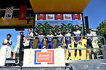 Wanty-Groupe Gobert best team yesterday's stage at sign on before the start of Stage 5 of the 2018 Tour de France running 204.5km from Lorient to Quimper, France. 11th July 2018. <br /> Picture: ASO/Pauline Ballet | Cyclefile<br /> All photos usage must carry mandatory copyright credit (&copy; Cyclefile | ASO/Pauline Ballet)