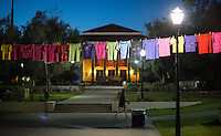 The Clothesline Project in the quad, sponsored by Project S.A.F.E., in which people tell their story in their own unique way, using words and/or artwork to decorate their shirts. Project S.A.F.E. is a prevention, education, and advocacy program dedicated to addressing issues of sexual assault on campus. (Photo by Marc Campos, Occidental College Photographer)