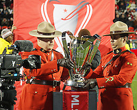 Royal Canadian Mounted Police place the trophy at MLS Cup 2010 at BMO Stadium in Toronto, Ontario on November 21 2010. Colorado won 2-1 in overtime.