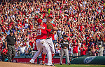 28 September 2014: Washington Nationals starting pitcher Jordan Zimmermann is greeted by Kevin Frandsen expressing joy after the last pitch of the game against the Miami Marlins at Nationals Park in Washington, DC. Zimmermann recorded his first career no-hitter as the Nats defeated the Marlins 1-0 caping the season with the first Nationals no-hitter in modern times. The win also resulted with a 96 win season for the Nats: the best record in the National League. Mandatory Credit: Ed Wolfstein Photo *** RAW (NEF) Image File Available ***