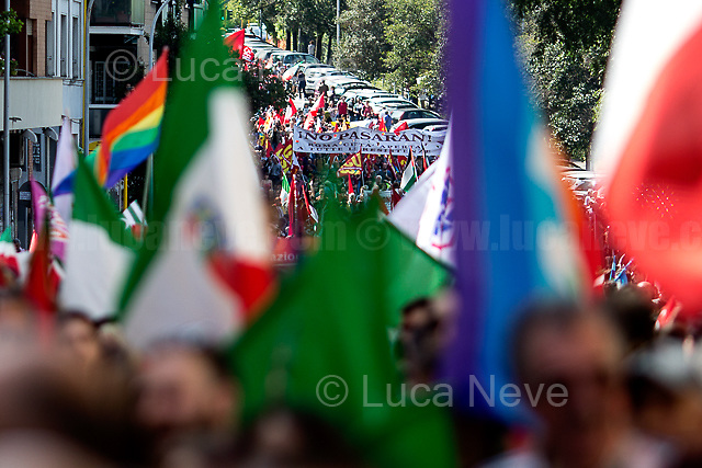 "Rome, 25/04/2018. Today, to mark the 73rd Anniversary of the Italian Liberation from nazi-fascism ('Liberazione'), ANED Roma & ANPI Roma (National Association of Italian Partizans) held a march ('Corteo') from Garbatella to Piazzale Ostiense where a rally took place attended by Partizans, Veterans and politicians – including the Mayor of Rome and the President of Lazio's Region. FOR THE FULL CAPTIONS PLEASE CHECK ""Photo Stories - 2010 to Today"" 25.04.2018."