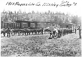 Ox teams moving structures from Camp 1 to another location.  Several D&amp;RG freight cars are on the spur in the background.<br /> Pagosa Lumber Co.    1910
