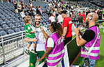 Stockholm 2014-07-28 Fotboll Superettan Hammarby IF - Assyriska FF :  <br /> Hammarbys Kennedy Bakircioglu ser glad ut n&auml;r han intervjuas efter matchen med sitt barn i armen<br /> (Foto: Kenta J&ouml;nsson) Nyckelord:  Superettan Tele2 Arena Hammarby HIF Bajen Assyriska AFF portr&auml;tt portrait intervju glad gl&auml;dje lycka leende ler le