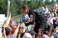 Aug. 3, 2014; Kent, WA, USA; NHRA top fuel dragster driver Steve Torrence during the Northwest Nationals at Pacific Raceways. Mandatory Credit: Mark J. Rebilas-