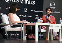 LOS ANGELES, CA -APRIL 13: Valerie Jarrett, Jackie Calmes, at the 2019 Los Angeles Times Festival Of Books at University of Southern California in Los Angeles, California on April 13, 2019.    <br /> CAP/MPI/SAD<br /> &copy;SAD/MPI/Capital Pictures