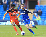Cardiff's Joe Ralls tussles with Ipswich's Ainsley Maitland-Niles during the Sky Bet Championship League match at The Cardiff City Stadium.  Photo credit should read: David Klein/Sportimage