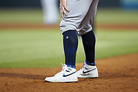 A close-up of the Air Jordan cleats worn by Clint Frazier (77) during the game against the Gwinnett Stripers at BB&T BallPark on August 16, 2019 in Lawrenceville, Georgia. The Stripers defeated the RailRiders 5-2. (Brian Westerholt/Four Seam Images)