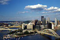 Pittsburgh, skyline, bridge, PA, Pennsylvania, aerial, downtown skyline of Pittsburgh, Fort Pitt Bridge, Monongahela River.