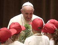 Pope Francis meets with participants at the Chidren's Train event at the Vatican on June 9, 2018. <br /> UPDATE IMAGES PRESS/Isabella Bonotto<br /> <br /> STRICTLY ONLY FOR EDITORIAL USE