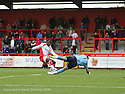 James Bittner of Salisbury saves at the feet of Yemi Odubade of Stevenage Borough during the Blue Square Premier match between Stevenage Borough and Salisbury City at the Lamex Stadium, Broadhall Way, Stevenage on 17th October, 2009.© Kevin Coleman 2009 .