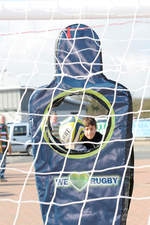 A fan enjoys the passing game in the LV= zone before the LV= Cup Final match between Leicester Tigers and Northampton Saints at Sixways Stadium, Worcester on Sunday 18 March 2012 (Photo by Rob Munro, Fotosports International)