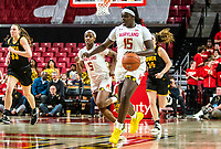 COLLEGE PARK, MD - FEBRUARY 13: Ashley Owusu #15 of Maryland starts an attack during a game between Iowa and Maryland at Xfinity Center on February 13, 2020 in College Park, Maryland.