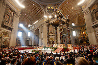 Papa Francesco rivolge il suo saluto al termine della messa per gli sportivi in occasione del 100esimo anniversario del CONI, nella Basilica di San Pietro, Citta' del Vaticano, 19 dicembre 2014.<br /> Pope Francis speaks at the end of a mass for the Italian Olympic Committee (CONI) 100th anniversary in St. Peter's Basilica at the Vatican, 19 December 2014.<br /> UPDATE IMAGES PRESS/Isabella Bonotto<br /> <br /> STRICTLY ONLY FOR EDITORIAL USE