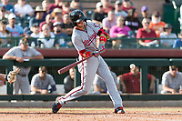 Salt River Rafters second baseman Carter Kieboom (24), of the Washington Nationals organization, swings at a pitch during the Arizona Fall League Championship Game against the Peoria Javelinas at Scottsdale Stadium on November 17, 2018 in Scottsdale, Arizona. Peoria defeated Salt River 3-2 in 10 innings. (Zachary Lucy/Four Seam Images)