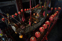A King Boat drifted from Fujian province is worshipped at the Orthodox Luerhmen Shen Mu (goddess of sea) Temple in Tainan, Taiwan, 2015. The King Boats are built to carry away bad lucks and plague when released to the seas.