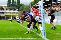 Joe Cokanasiga of Bath Rugby looks to score a try but is dragged into touch. Gallagher Premiership match, between Bath Rugby and Gloucester Rugby on September 8, 2018 at the Recreation Ground in Bath, England. Photo by: Patrick Khachfe / Onside Images