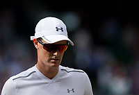 Top seeds Jamie Murray (GBR) (with partner Martina Hingis) (SUI) during their victory against Ken Skupski (GBR) and Jocelyn Rae (GBR),  6-4, 6-4<br /> <br /> Photographer Ashley Western/CameraSport<br /> <br /> Wimbledon Lawn Tennis Championships - Day 10 - Thursday 13th July 2017 -  All England Lawn Tennis and Croquet Club - Wimbledon - London - England<br /> <br /> World Copyright &not;&copy; 2017 CameraSport. All rights reserved. 43 Linden Ave. Countesthorpe. Leicester. England. LE8 5PG - Tel: +44 (0) 116 277 4147 - admin@camerasport.com - www.camerasport.com