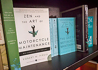 "Copies of ""Zen and the Art of Motorcycle Maintenance: An Inquiry into Values"" by Robert M. Pirsig is seen in a bookstore in New York on Tuesday, April 25, 2017. Pirsig, the author of the book with a cult following, died in Maine on Monday at the age of 88. (© Richard B. Levine)"