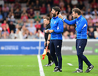 Lincoln City manager Danny Cowley, left, and Lincoln City's assistant manager Nicky Cowley shout instructions to their team from the technical area<br /> <br /> Photographer Chris Vaughan/CameraSport<br /> <br /> The EFL Sky Bet League Two - Lincoln City v Morecambe - Saturday August 12th 2017 - Sincil Bank - Lincoln<br /> <br /> World Copyright &copy; 2017 CameraSport. All rights reserved. 43 Linden Ave. Countesthorpe. Leicester. England. LE8 5PG - Tel: +44 (0) 116 277 4147 - admin@camerasport.com - www.camerasport.com