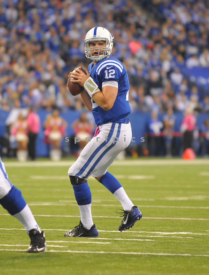 Indianapolis Colts Andrew Luck (12) during a game against the Baltimore Ravens on October 5, 2014 at Lucas Oil Stadium in Indianapolis, IN. The Colts beat the Ravens 20-13.