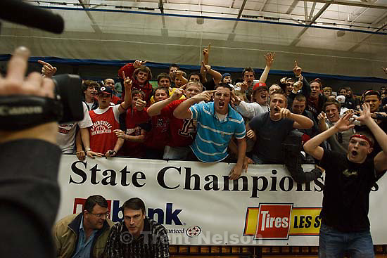 Taylorsville - Sky View vs. Springville High School girls basketball, 4A State Championship tournament Friday February 27, 2009 at Salt Lake Community College. fans screaming for TV cameraman