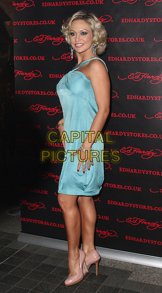 KRISTINA RIHANOFF.Attends the Ed Hardy Store Launch Party at Westfield Shopping Centre, London, England, UK, .December 1st 2009..full length turquoise dress blue silk satin pink shoes patent heels side .CAP/JIL.©Jill Mayhew/Capital Pictures
