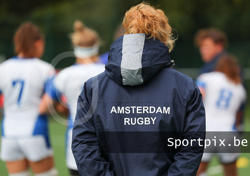 20190928 - Neder Over Hembeek, BELGIUM : AAC Amsterdam's player is pictured before the female rugby match between the Dendermonde RC Women  and AAC Amsterdam Rugby Women, this is the final of the BeNeCup  on Saturday 28th September 2019 at the Nelson Mandela Stadium , Belgium. PHOTO SPORTPIX.BE | SEVIL OKTEM
