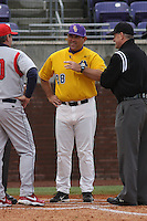 East Carolina University Pirates Head Coach Billy Godwin #28 before a game against the Stony Brook Seawolves at Clark-LeClair Stadium on March 4, 2012 in Greenville, NC.  East Carolina defeated Stony Brook 4-3. (Robert Gurganus/Four Seam Images)