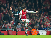 Arsenal's Mohamed Elnenyduring the Carabao Cup QF match between Arsenal and West Ham United at the Emirates Stadium, London, England on 19 December 2017. Photo by Andrew Aleksiejczuk / PRiME Media Images.