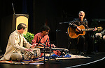 From left, Pete Fairley, Thakur Chakrapani Singh and Jim Eaglesmith perform before the Western Nevada College Multi-Faith Baccalaureate service at the Community Center in Carson City, Nev., on Monday, May 20, 2013. .Photo by Cathleen Allison