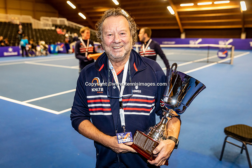 Alphen aan den Rijn, Netherlands, December 22, 2019, TV Nieuwe Sloot,  NK Tennis, Henk Koster with the trophy<br /> Photo: www.tennisimages.com/Henk Koster