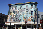 SAN FRANCISCO BUILDING COVERED WITH MURALS of FAMOUS MUSICIANS
