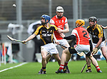 Stan Lineen of Ballyea in action against Colm Cronin and Oisin Gough of Cuala during the All-Ireland Club Hurling Final at Croke Park. Photograph by John Kelly.