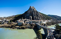 Picture by Alex Broadway/SWpix.com - 09/03/2018 - Cycling - 2018 Paris Nice - Stage Six - Sisteron to Vence - The peloton leaves Sisteron.<br /> <br /> NOTE : FOR EDITORIAL USE ONLY. THIS IS A COPYRIGHT PICTURE OF ASO. A MANDATORY CREDIT IS REQUIRED WHEN USED WITH NO EXCEPTIONS to ASO/Alex Broadway MANDATORY CREDIT/BYLINE : ALEX BROADWAY/ASO