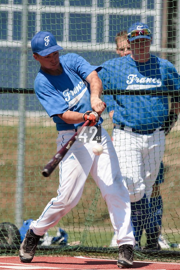 20 july 2010: Romain Scott Martinez of Team France is seen at bat during a practice prior to the 2010 European Championship Seniors, in Neuenburg, Germany.