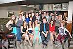 Nadine Walsh,Oakpark,Tralee(seated centre)had a fab time celebrating her 18th birthday last Saturday night in Kirby's Brogue,Tralee surrounded by many friends and family.
