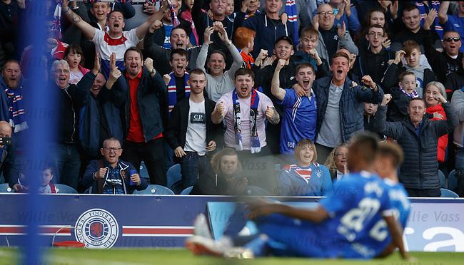 09.08.18 Rangers v Maribor: Rangers fans celebrate