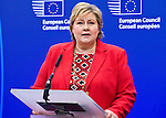 BRUSSELS - BELGIUM - 21 January 2015 -- Erna SOLBERG, Prime Minister of Norway visiting the President of the European Council. Here during her press conference. -- Photo: Juha ROININEN / EUP-IMAGES / Prime Ministers Office