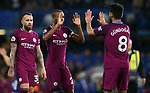 Fernandinho of Manchester City celebrates with team mate Ilkay Gundogan of Manchester City at the end of the premier league match at the Stamford Bridge stadium, London. Picture date 30th September 2017. Picture credit should read: Robin Parker/Sportimage