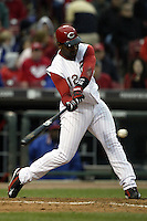 03 April 2006: Cincinnati Reds' Edwin Encarnacion bats against the Chicago Cubs' during the Reds' home opener at Great American Ballpark in Cincinnati, Ohio.<br />