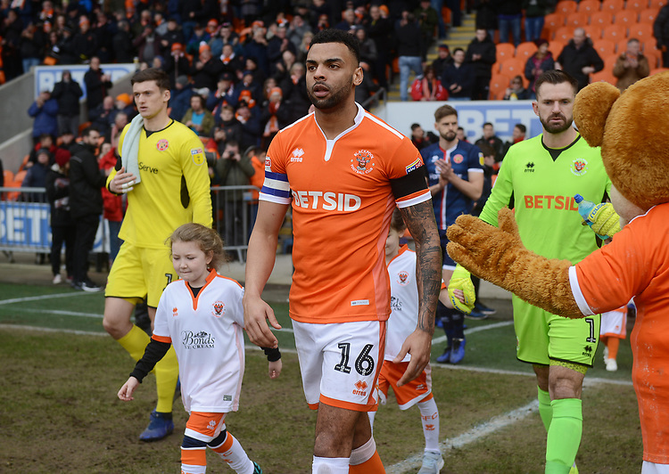 Blackpool's Curtis Tilt leads his side out<br /> <br /> Photographer Kevin Barnes/CameraSport<br /> <br /> The EFL Sky Bet League One - Blackpool v Walsall - Saturday 9th February 2019 - Bloomfield Road - Blackpool<br /> <br /> World Copyright © 2019 CameraSport. All rights reserved. 43 Linden Ave. Countesthorpe. Leicester. England. LE8 5PG - Tel: +44 (0) 116 277 4147 - admin@camerasport.com - www.camerasport.com