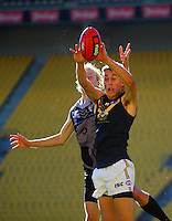 Action from the international AFL match between NZ Hawks and Australian AFL Rising Stars Academy at Westpac Stadium, Wellington, New Zealand on Friday, 24 May 2015. Photo: Dave Lintott / lintottphoto.co.nz