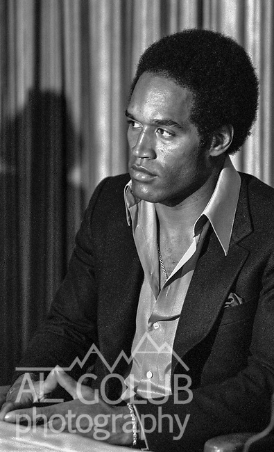 October 24, 1978--OJ Simpson--Sportsmen of Stanislaus invited OJ Simpson, Cleveland  Elam, Cedrick Hardman and Jimmy Webb of the San Francisco 49ers to Outstanding Athlete Awards banquet. Orenthal James &quot;O. J.&quot; Simpson was born July 9, 1947, nicknamed The Juice, is a former American football running back, broadcaster, actor, and convicted armed robber and kidnapper.<br /> Simpson attended the University of Southern California where he played college football for the USC Trojans and won the Heisman Trophy in 1968. He played professionally in the National Football League as a running back for 11 seasons, with the Buffalo Bills from 1969 to 1977 and with the San Francisco 49ers from 1978 to 1979. In 1973, he became the first NFL player to rush for more than 2,000 yards in a season.<br /> Simpson was inducted into the College Football Hall of Fame in 1983 and the Pro Football Hall of Fame in 1985.  After retiring from football, he began new careers in acting and football broadcasting.  In 1995, Simpson was acquitted of the 1994 murders of his ex-wife Nicole Brown Simpson and her friend Ronald Goldman after a lengthy and internationally publicized trial. The families of the victims filed a civil suit against him, and in 1997 a civil court awarded a $33.5 million judgment against Simpson for the victims' wrongful deaths.  In 2007, Simpson was arrested in Las Vegas, Nevada, and charged with felonies including armed robbery and kidnapping.  In 2008, he was convicted and sentenced to 33 years imprisonment, with a minimum of nine years without parole.  He is serving his sentence at the Lovelock Correctional Center in Lovelock, Nevada.<br />  Photo by Al Golub/Golub Photography