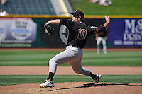 Nashville Sounds Daniel Mengden (19) throws during the Pacific Coast League game against the Omaha Storm Chasers at Werner Park on June 5, 2016 in Omaha, Nebraska.  Omaha won 6-4.  (Dennis Hubbard/Four Seam Images)