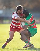 Vuga Tagickabau is tackled by Andrew West. Counties Manukau Premier Club Rugby game between Karaka and Waiuku, played at Karaka Sports Park on Saturday June 9th 2018. Karaka won the game 22 - 18 after trailing 5 - 13 at halftime.  Photo by Richard Spranger.