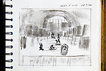 Paris, Musee de'Orsay, Joel Rogers, Journal Art 2002, ink and charcoal on paper,