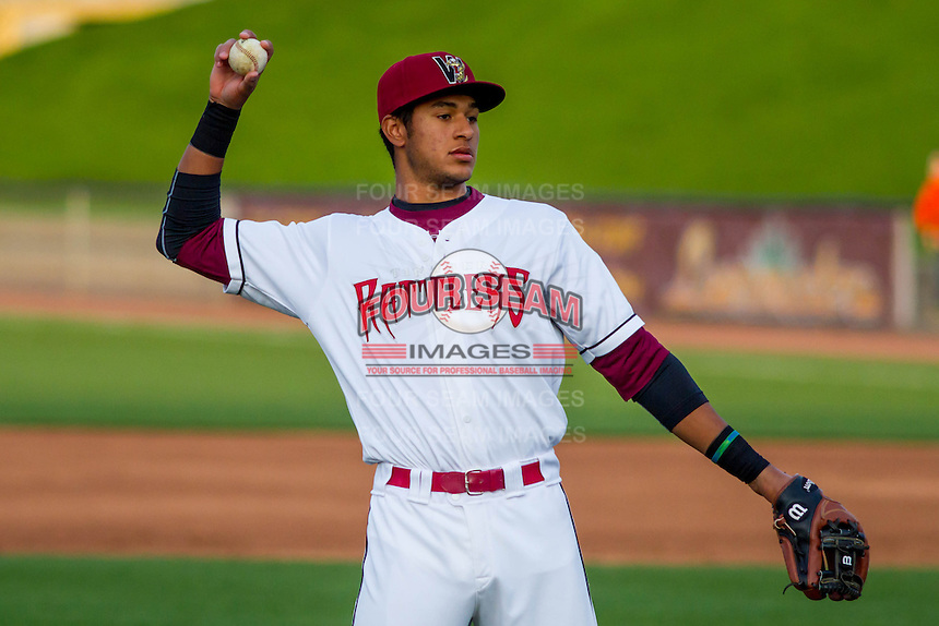 Wisconsin Timber Rattlers third baseman Jake Gatewood (2) throws between innings during a Midwest League game against the Clinton LumberKings on May 9th, 2016 at Fox Cities Stadium in Appleton, Wisconsin.  Clinton defeated Wisconsin 6-3. (Brad Krause/Four Seam Images)